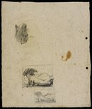 Alternate image of recto: Hilly landscape [top] and Landscape with houses [bottom] verso: Two composition sketches for 'Hilly landscape' by Lloyd Rees