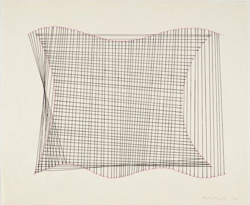 An image of Vertical and Horizontal Lines Playing Red and Black I by Kazuko Miyamoto
