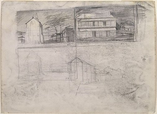 An image of Four studies of Hill End by Russell Drysdale