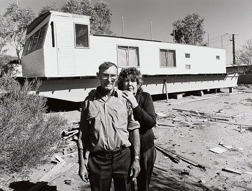 An image of Ron and Cora Foster and the houseboat they built at Mt Gunson. They retired to the Murray River by Gerrit Fokkema