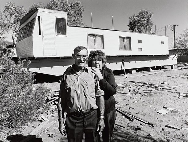 An image of Ron and Cora Foster and the houseboat they built at Mt Gunson. They retired to the Murray River