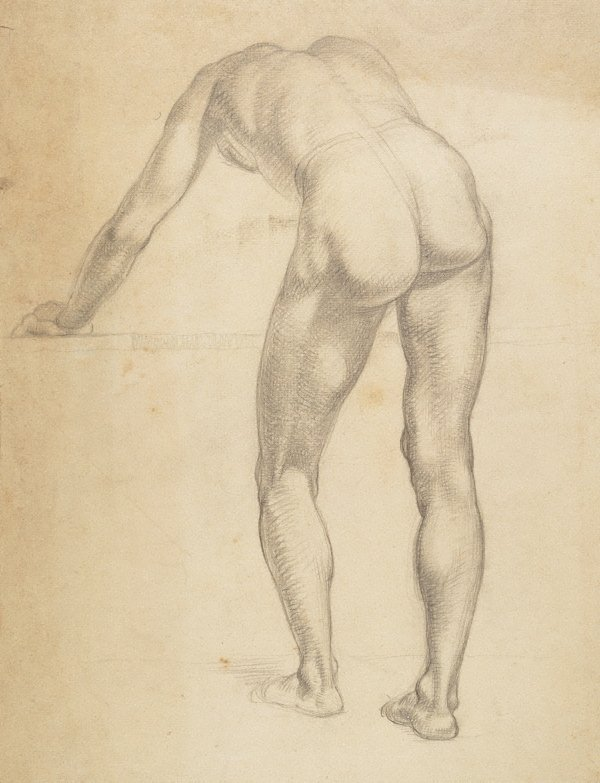 An image of recto: (Male nude from rear, bending forwards) verso: (View of the top of a tower)