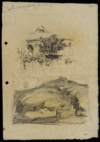 An image of recto: House behind a fence [top] and Rounded hillside landscape [bottom] verso: House [top] and The hillside [bottom] by Lloyd Rees