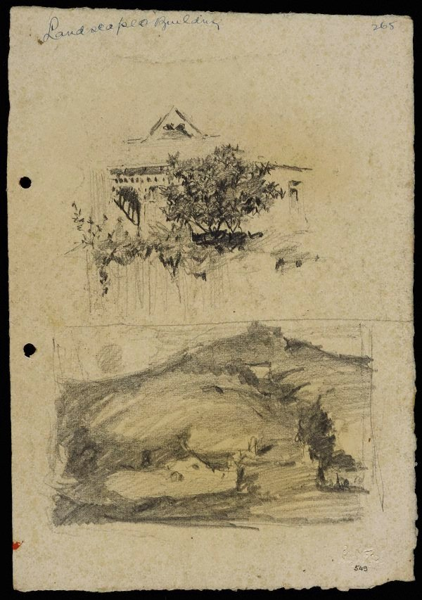 An image of recto: House behind a fence [top] and Rounded hillside landscape [bottom] verso: House [top] and The hillside [bottom]