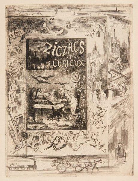 """An image of Frontispiece for Octave Uzanne's """"Les zigzags d'un curieux"""" by Félix Buhot"""
