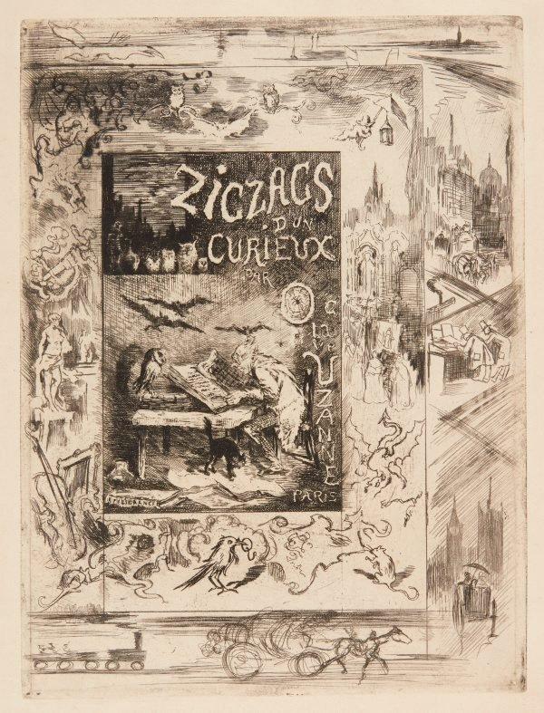 """An image of Frontispiece for Octave Uzanne's """"Les zigzags d'un curieux"""""""