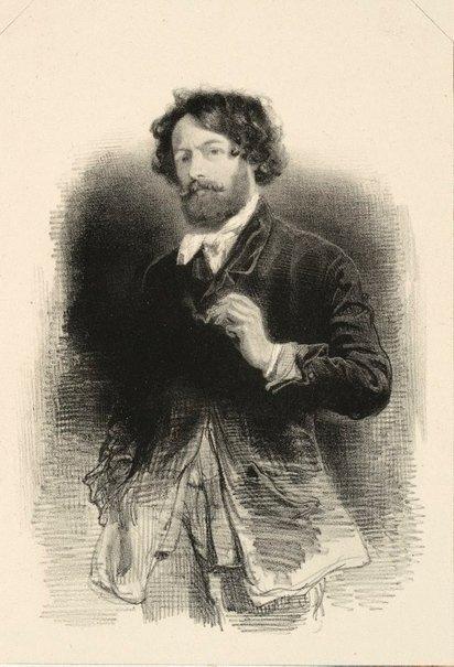 An image of Self portrait holding a cigarette by Paul Gavarni