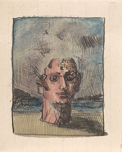 An image of Studies for 'Eau + Feu = Calamite' (Monumental head in landscape) by James Gleeson