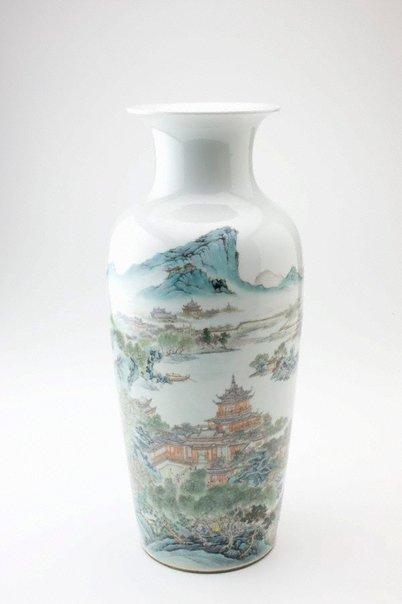 An image of Vase with scene of pavilions by a lake by