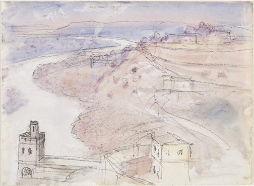 An image of The river, Béziers by Lloyd Rees