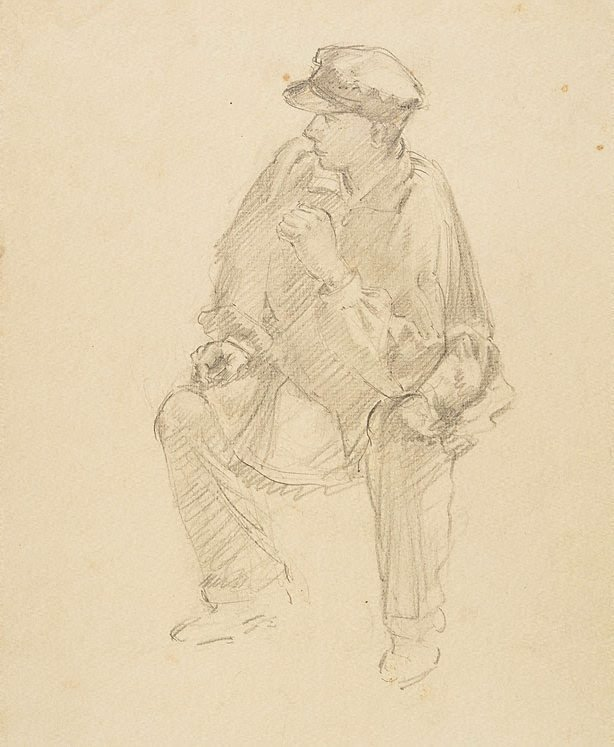 An image of recto: (Young man in cap, seated) verso: (Man in coat and top hat from rear)