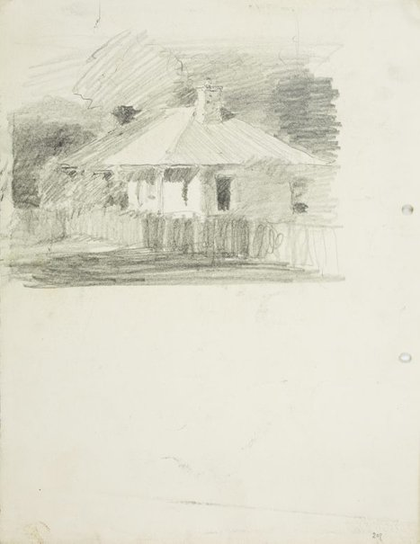 An image of recto: A cottage, Parramatta verso: Sketch of Rings Bridge, Parramatta by Lloyd Rees