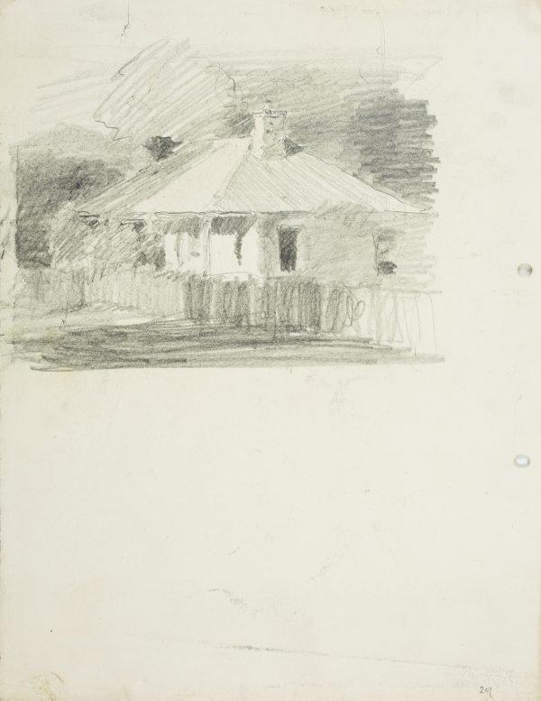 An image of recto: A cottage, Parramatta verso: Sketch of Rings Bridge, Parramatta