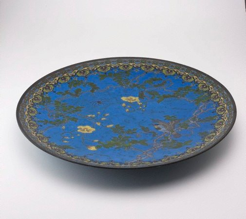 An image of Japanese blue plaque by Meiji export crafts