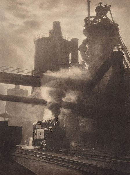 An image of Steam and sunshine, Newcastle BHP by Harold Cazneaux