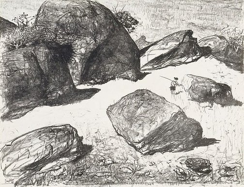 An image of Boulders at Werri Beach I by Lloyd Rees