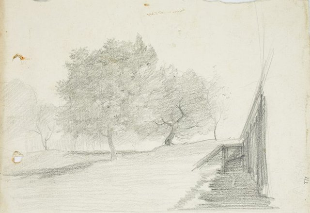 An image of recto: Landscape verso: Bare trees