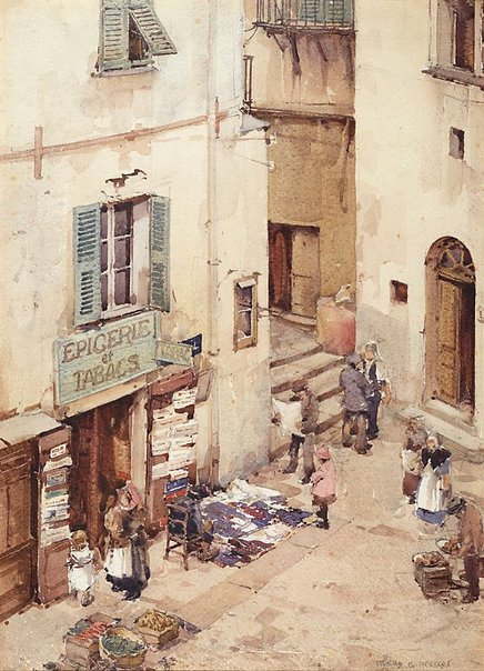 An image of Market day, Villefranche by Harold Herbert