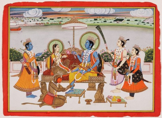 An image of Rama and Sita enthroned at Ayodhya