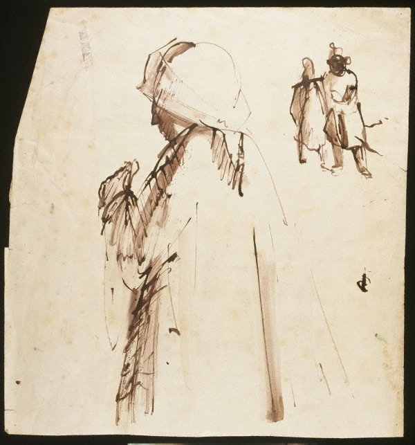 An image of (Figure in a coat and two figures in background)