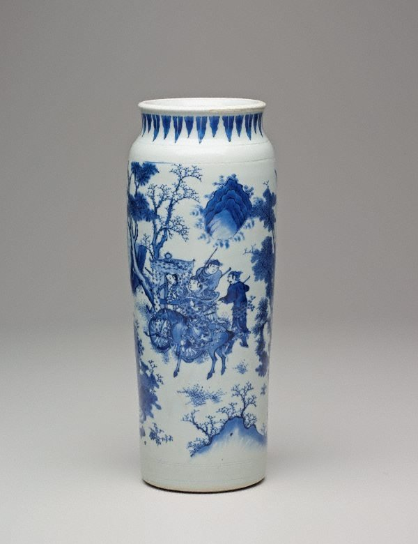An image of Cylinder vase decorated with figures and landscapes