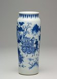 Alternate image of Cylinder vase decorated with figures and landscapes by Jingdezhen ware
