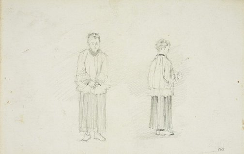 An image of recto: Two altar boys verso: Old King's School, Parramatta by Lloyd Rees