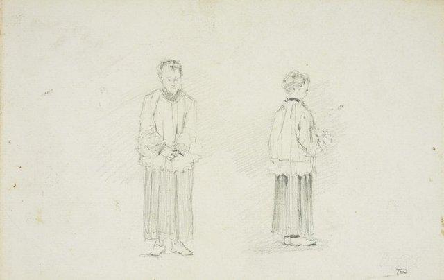 An image of recto: Two altar boys verso: Old King's School, Parramatta