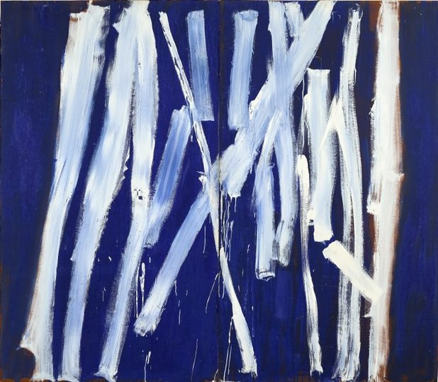 AGNSW collection Tony Tuckson White lines (vertical) on ultramarine (1970-1973) 127.1976.a-b