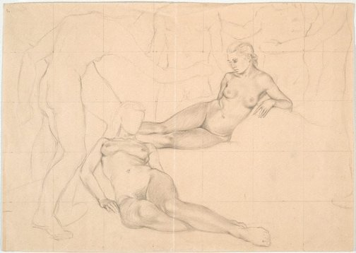 An image of Studies for 'Fête Champêtre, a lethal regulation' (Two reclining female figures) by James Gleeson