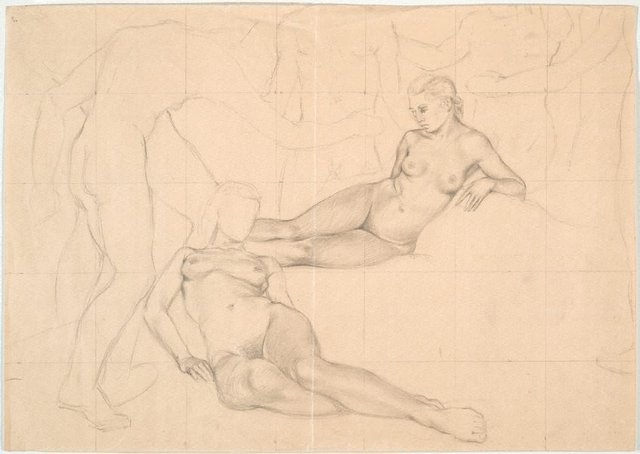 An image of Studies for 'Fête Champêtre, a lethal regulation' (Two reclining female figures)