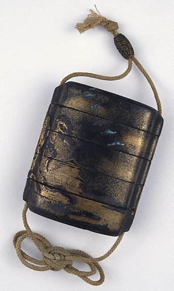 An image of Four-case 'inrô' decorated with a traveller in a landscape theme with chrysanthemum decorated metal 'ojime' attached