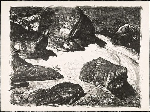 An image of Boulders at Werri Beach II by Lloyd Rees