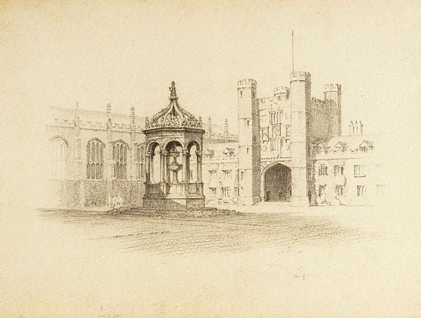 An image of (Study of a courtyard with Gothic monument)