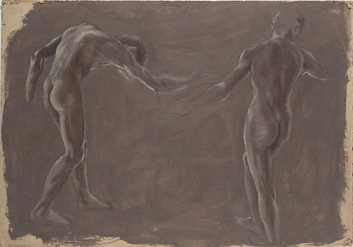 An image of Studies for 'Fête Champêtre, a lethal regulation' (Two standing male figures) by James Gleeson