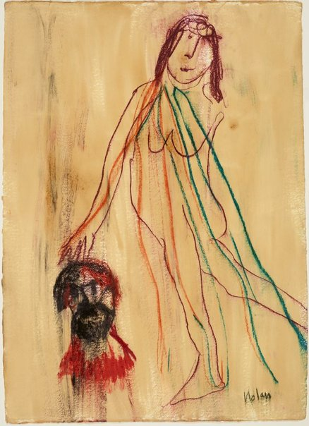 An image of Untitled (female nude and head) by Sidney Nolan