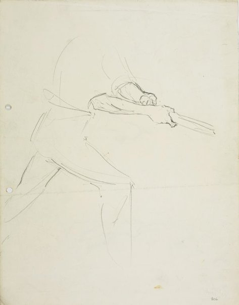 An image of recto: Male figure swinging a bat verso: Male figure swinging a bat and Detail of the grip by Lloyd Rees