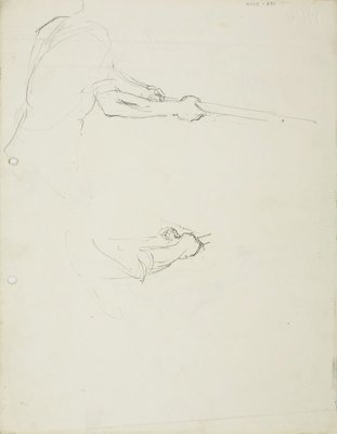 Alternate image of recto: Male figure swinging a bat verso: Male figure swinging a bat and Detail of the grip by Lloyd Rees
