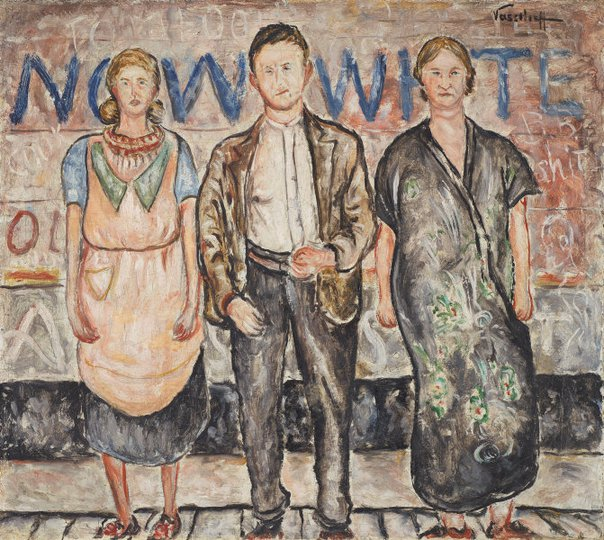 AGNSW collection Danila Vassilieff Man, wife and mother-in-law in street 1937