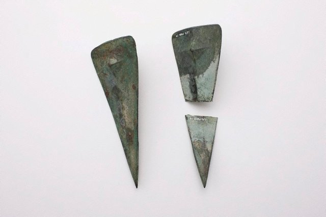 An image of 2 triangular shields with raised central section