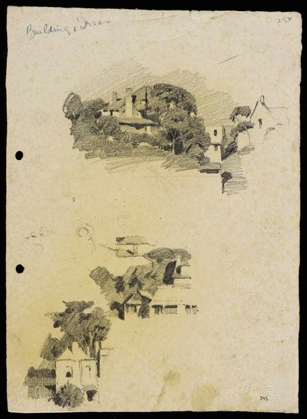 An image of recto: Houses and trees [top] and Houses on a slope [bottom] verso: Suburban buildings [top] and Houses and trees [bottom] by Lloyd Rees