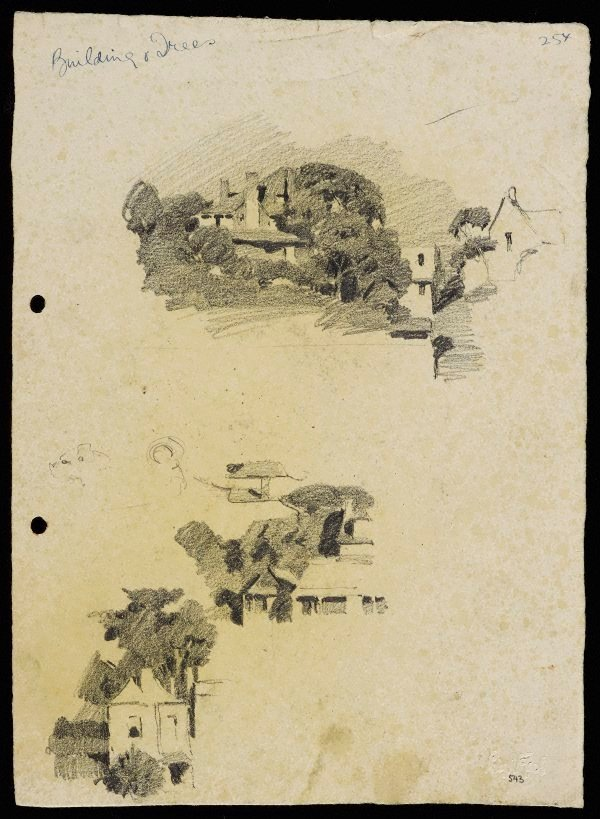 An image of recto: Houses and trees [top] and Houses on a slope [bottom] verso: Suburban buildings [top] and Houses and trees [bottom]