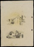 Alternate image of recto: Houses and trees [top] and Houses on a slope [bottom] verso: Suburban buildings [top] and Houses and trees [bottom] by Lloyd Rees