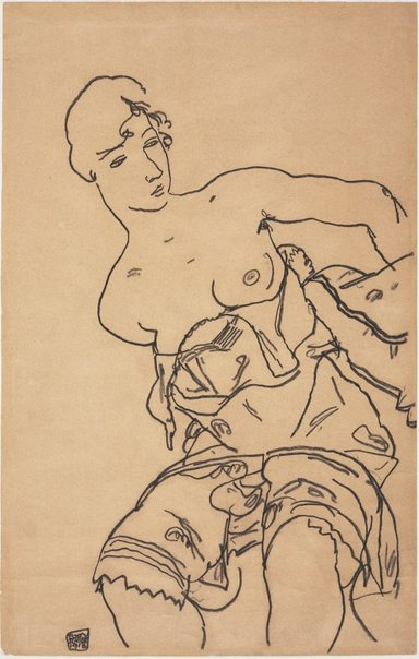 An image of Seated woman with bare breasts by Egon Schiele