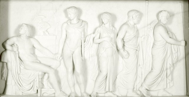 An image of Patroclus by order of Achilles consigning Briseis to the heralds of Agamemnon