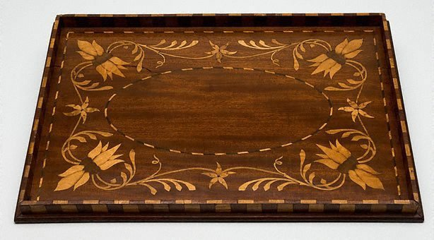 An image of Tea tray with Sturt's desert pea design