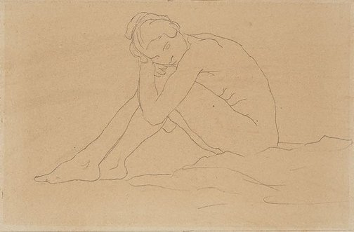 An image of Seated female nude clasping her knees by Rupert Bunny