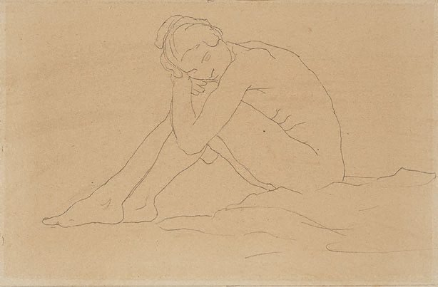 An image of Seated female nude clasping her knees