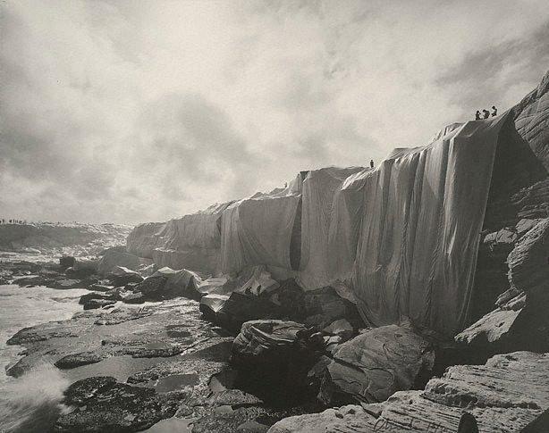 Wrapped Coast, One Million Square Feet, Little Bay, Sydney, Australia, (1969) by Christo, Jeanne-Claude