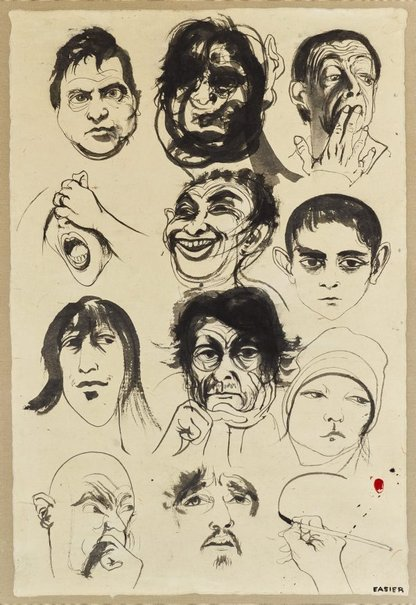 An image of Head studies by Brett Whiteley